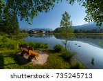 pond in alps with clear still... | Shutterstock . vector #735245713