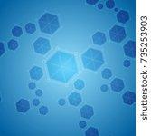 blue abstract hexagon molecules ... | Shutterstock .eps vector #735253903