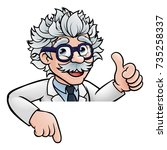 a cartoon scientist professor... | Shutterstock . vector #735258337