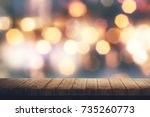 wooden board and colorful... | Shutterstock . vector #735260773