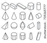 geometric black shapes in... | Shutterstock .eps vector #735265777