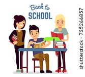 back to school concept with... | Shutterstock .eps vector #735266857
