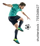 one caucasian soccer player man ... | Shutterstock . vector #735268627