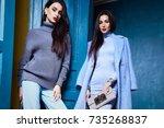 beautiful sexy woman lady wear...   Shutterstock . vector #735268837