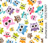 seamless pattern with colorful... | Shutterstock .eps vector #735270397