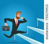 overcome obstacles. manager... | Shutterstock .eps vector #735270913