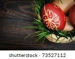 Red Easter Eggs In Wooden...