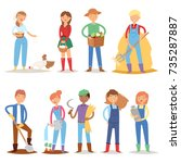different farmer workers people ... | Shutterstock .eps vector #735287887