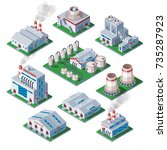 isometric 3d factory building... | Shutterstock .eps vector #735287923