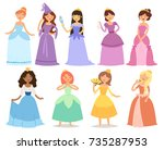 cartoon girl princess... | Shutterstock .eps vector #735287953