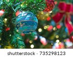 decor and bokeh of lights from... | Shutterstock . vector #735298123