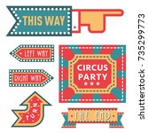 circus vintage signboard labels ... | Shutterstock .eps vector #735299773