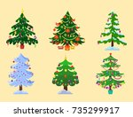 pine tree cartoon green vector... | Shutterstock .eps vector #735299917