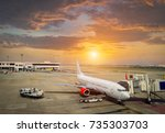airplane ready for boarding in... | Shutterstock . vector #735303703