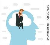 thinker. thinking manager... | Shutterstock .eps vector #735307693
