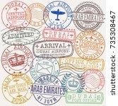 dubai arab emirates stamp... | Shutterstock .eps vector #735308467