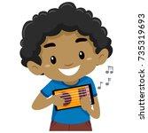 vector illustration of kid boy...   Shutterstock .eps vector #735319693