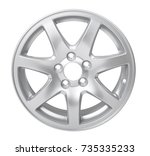 car alloy wheel isolated on... | Shutterstock . vector #735335233