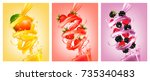 set of labels of of fruit in... | Shutterstock .eps vector #735340483