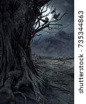 scary dead tree  night in the... | Shutterstock . vector #735344863