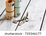 two stacks of european union... | Shutterstock . vector #735346177