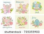 set of cartoon elephants with...   Shutterstock .eps vector #735355903