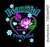slogan text and flower. girl...   Shutterstock .eps vector #735366907
