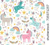 seamless pattern with unicorns | Shutterstock .eps vector #735371257
