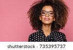 portrait of beautiful african... | Shutterstock . vector #735395737