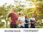 runners team on morning... | Shutterstock . vector #735396007