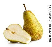 single abate fetel pear next to ... | Shutterstock . vector #735397753