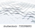 abstract white hexagonal... | Shutterstock . vector #735398893