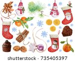christmas collection. christmas ... | Shutterstock . vector #735405397