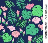 seamless exotic pattern with... | Shutterstock .eps vector #735406363