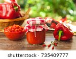 freshly made ajvar in glass jar ... | Shutterstock . vector #735409777