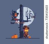 halloween greeting card  pixel... | Shutterstock .eps vector #735415603