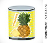 tin can with canned pineapple... | Shutterstock .eps vector #735416773