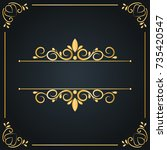 vintage wedding ornament frame... | Shutterstock .eps vector #735420547