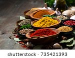 assortment of spices and herbs  ... | Shutterstock . vector #735421393