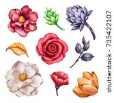 watercolor floral set  autumn... | Shutterstock . vector #735422107