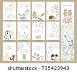 Stock vector colorful cute monthly calendar with wild fox bear skunk leaf stump flower penguin and 735423943