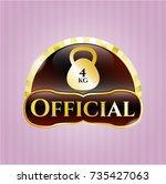 gold badge or emblem with 4kg... | Shutterstock .eps vector #735427063