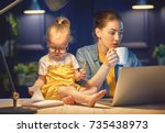 young mother with toddler child ... | Shutterstock . vector #735438973