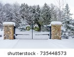 rural gate in winter | Shutterstock . vector #735448573