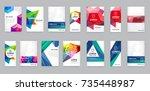 huge set of visual identity... | Shutterstock .eps vector #735448987