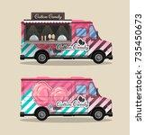 cotton candy  a kiosk on wheels ... | Shutterstock .eps vector #735450673