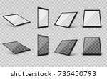 realistic tablet set on... | Shutterstock .eps vector #735450793
