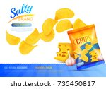 salty snacks poster with... | Shutterstock .eps vector #735450817
