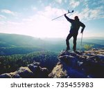 tourist with  forearm crutch... | Shutterstock . vector #735455983
