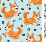 dog pattern. vector seamless... | Shutterstock .eps vector #735456283